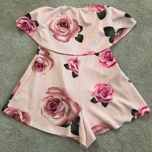 Windsor Pink Rose Romper Shorts